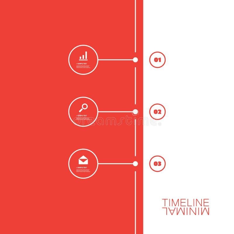 Minimaal Chronologieontwerp - Infographic-Elementen met Pictogrammen vector illustratie