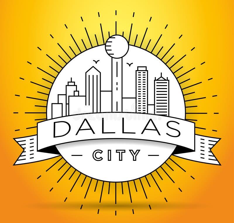 Minimaal Dallas City Linear Skyline met Typografisch Ontwerp stock illustratie