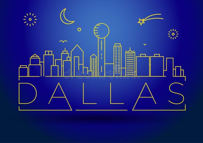 Minimaal Dallas City Linear Skyline met Typografisch Ontwerp vector illustratie