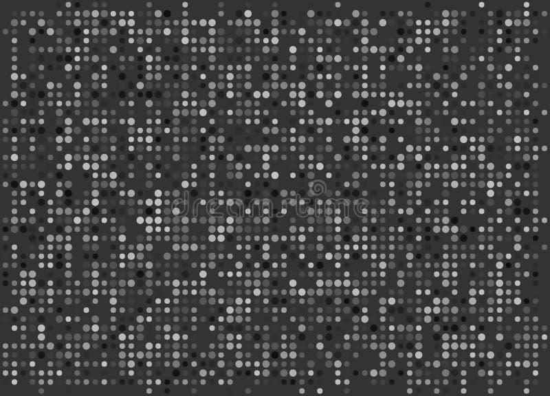 Minimaal Dots Wallpaper Vector Zwart-wit Pixelachtergrond stock afbeeldingen