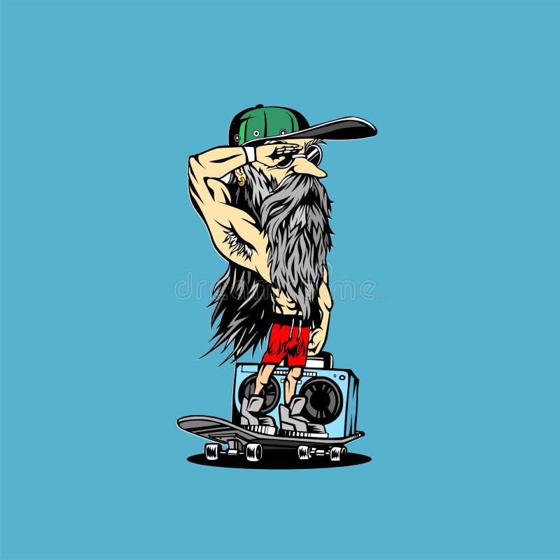 Minimaal embleem van de mens op ontwerp van de skateboard het vectorillustratie royalty-vrije illustratie