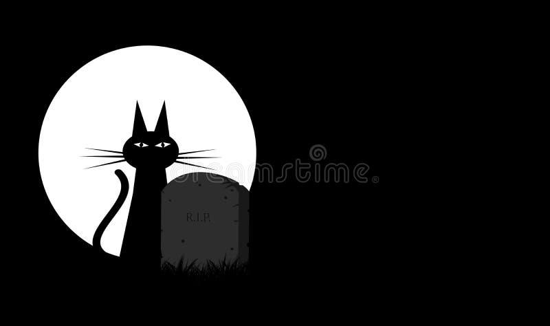 Minimaal Halloween-thema met zwarte kat en maan vector illustratie