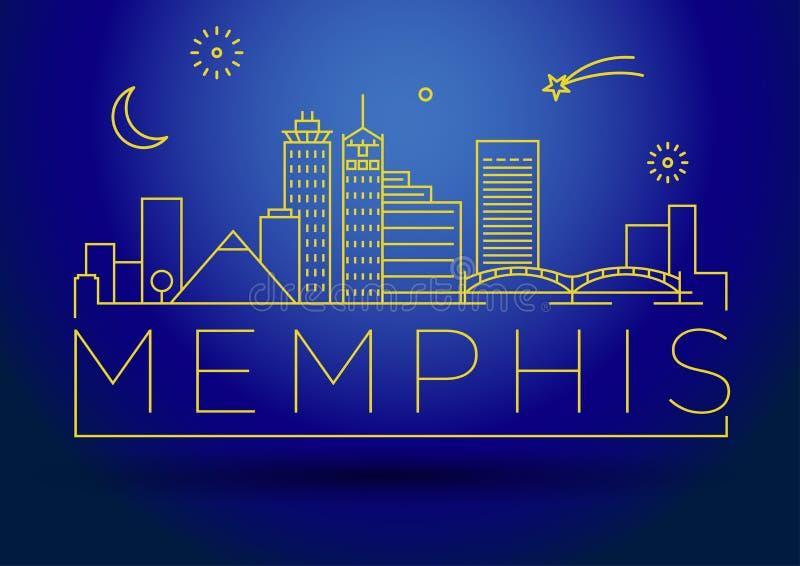Minimaal Memphis Linear City Skyline met Typografisch Ontwerp royalty-vrije illustratie