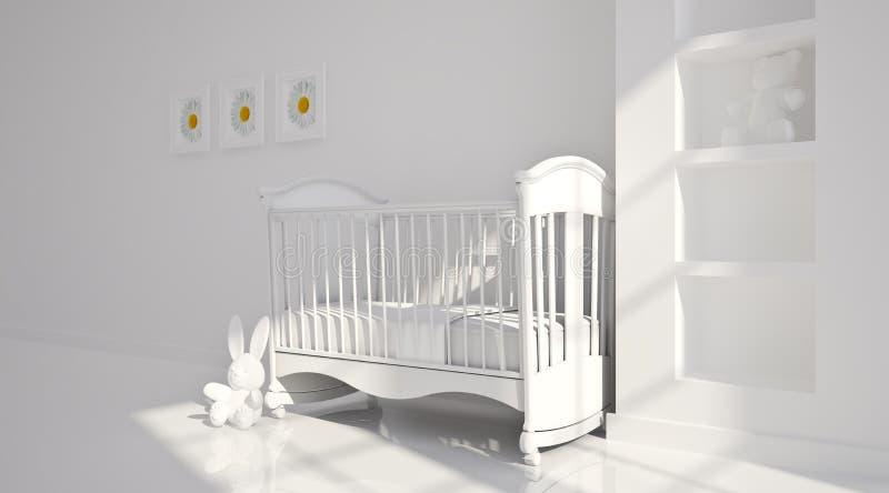 Minimaal modern binnenland van kinderdagverblijf. B&W royalty-vrije stock afbeelding