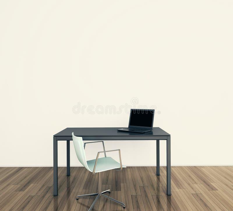 Minimaal modern binnenlands bureau stock afbeeldingen