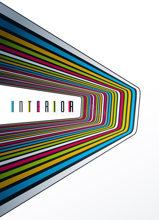 Minimaal ontwerp van abstracte lijnen op 3D perspectief vector abstracte achtergrond, minimalistic koel in retro malplaatje voor  royalty-vrije illustratie