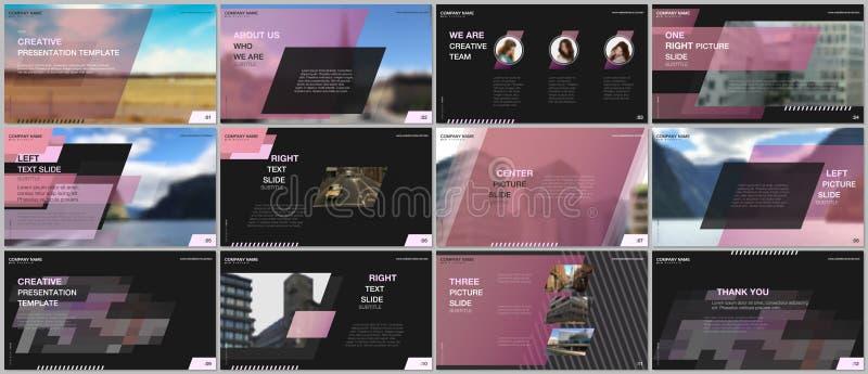 Minimaal presentatiesontwerp, portefeuille vectormalplaatjes met kleurrijke gradi?nt geometrische achtergrond Roze ontwerp vector illustratie