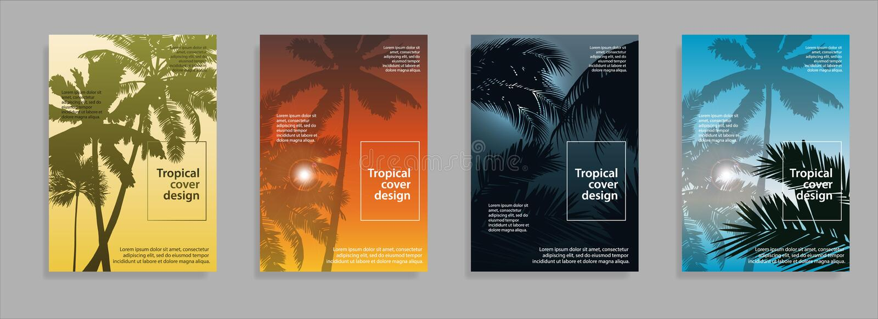 Minimaal tropisch dekkingsontwerp Van de bedrijfs vliegerdekking brochure vectorontwerp, Pamflet die abstracte achtergrond advert vector illustratie