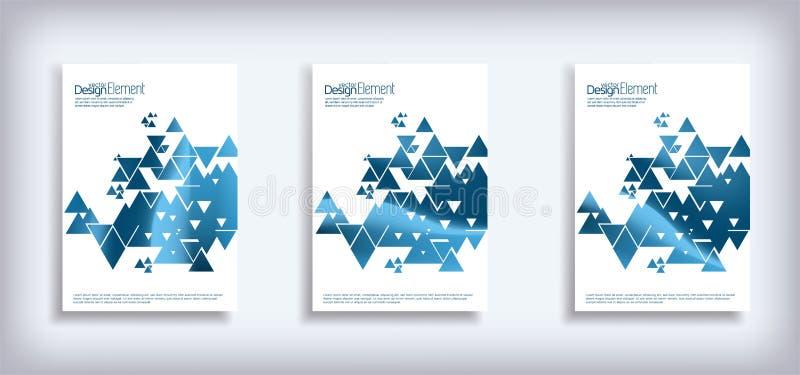 Minimaal VectordieDekkingsontwerp met abstracte driehoeken wordt geplaatst Moderne halftone gradiënten royalty-vrije illustratie