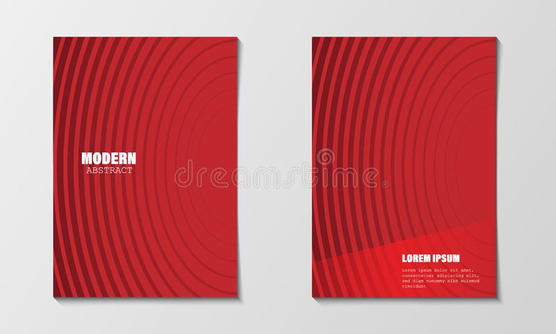 Minimal abstract covers design template. Modern red circle line gradients. Company profile brochure and business annual report. stock illustration