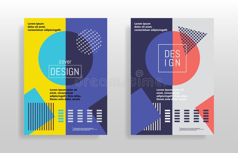 Minimal abstract design posters. Covers templates set with bauhaus, memphis and hipster style graphic geometric elements. Design f royalty free illustration