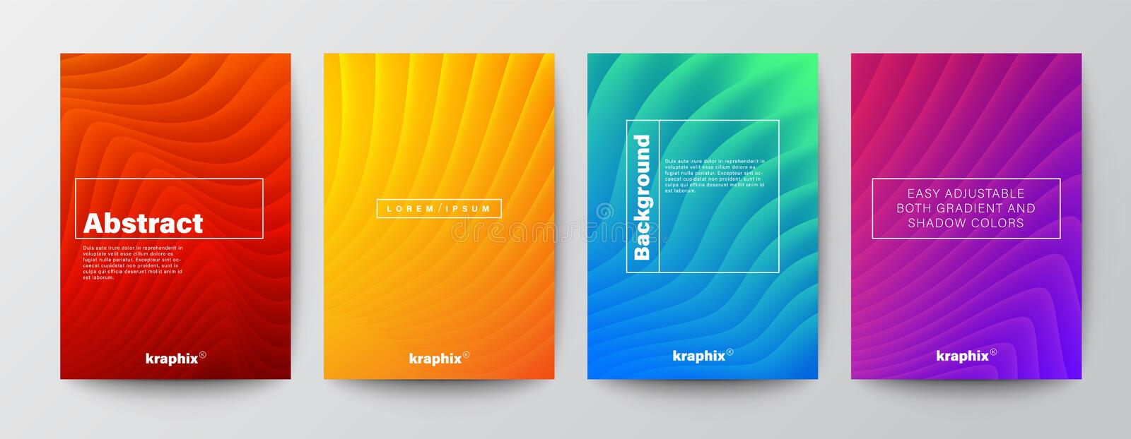 minimal abstract organic curved wave shape on vivid gradient colors background for Brochure, Flyer, Poster, leaflet, Book Cover stock illustration