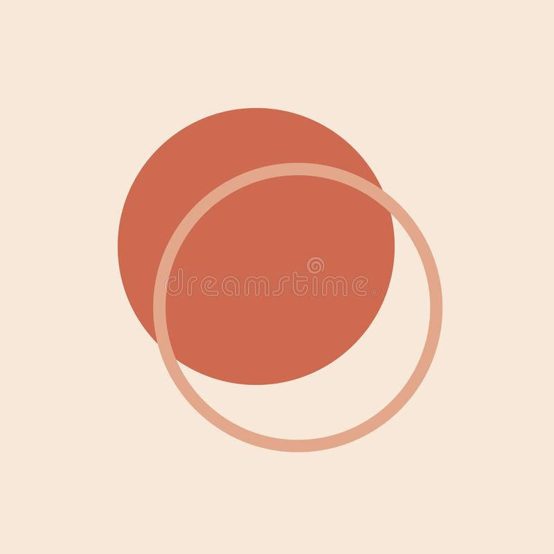 Minimal abstract poster with simple circles . Modern geometric shapes design . Circular elements composition in Scandinavian style royalty free illustration