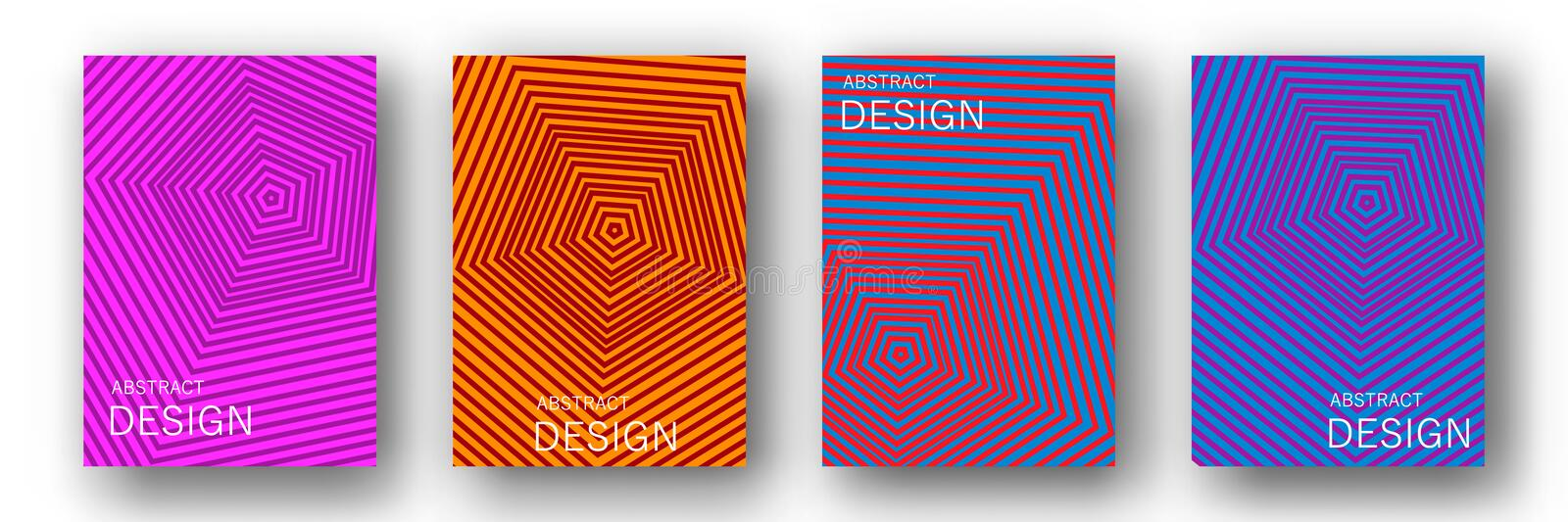 Minimal annual report design vector collection. Halftone lines texture cover page layout templates set. Report covers graphic design, business brochure pages royalty free illustration