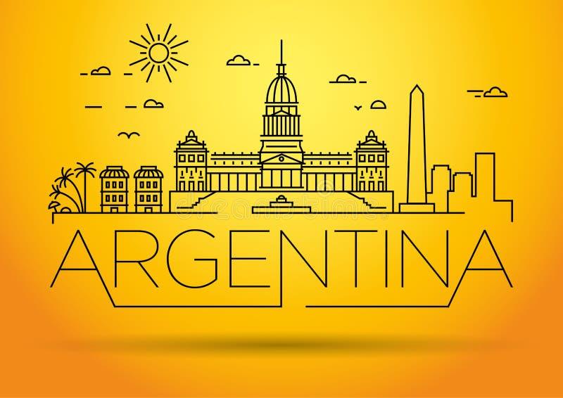 Minimal Argentina Linear Skyline with Typographic Design stock illustration