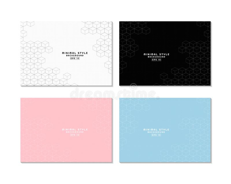 Minimal art hexagon box shape pattern design with space and set 4 background royalty free illustration