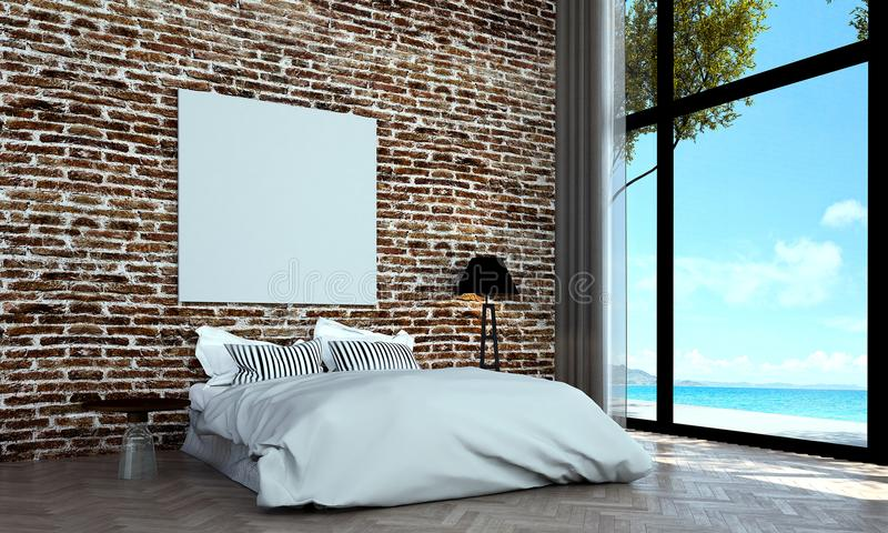 The minimal bedroom interior design and red brick wall pattern background and sea view vector illustration