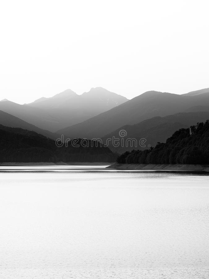 Minimal black and white lakescape royalty free stock photography
