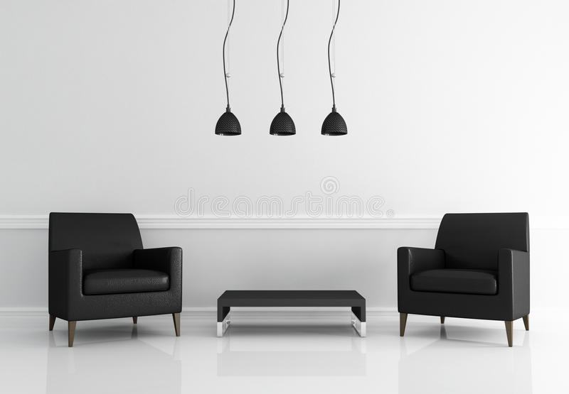 Minimal black and white living room. Two black leather armchair in a white living room - rendering