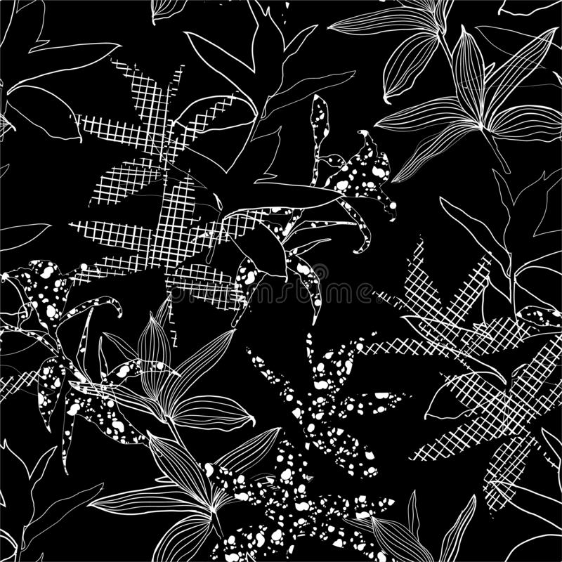 Minimal black and white Silhouette Abstract botanical flower composition of garden leaves.  seamless pattern wallpaper vector illustration