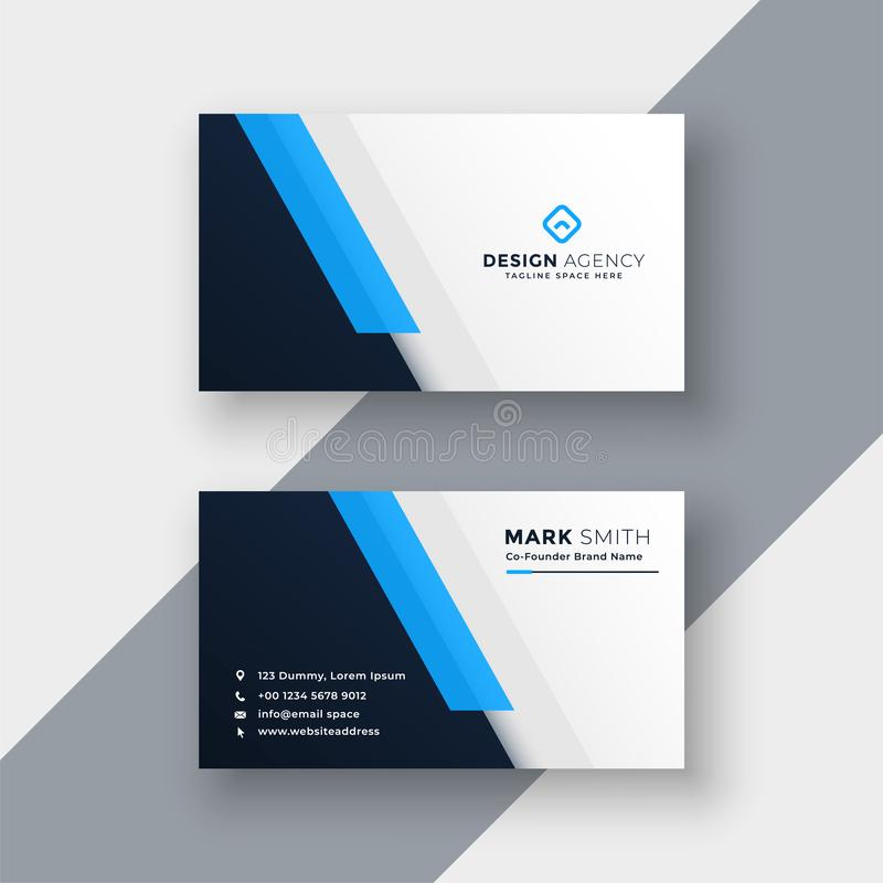 Minimal blue business card design template royalty free illustration