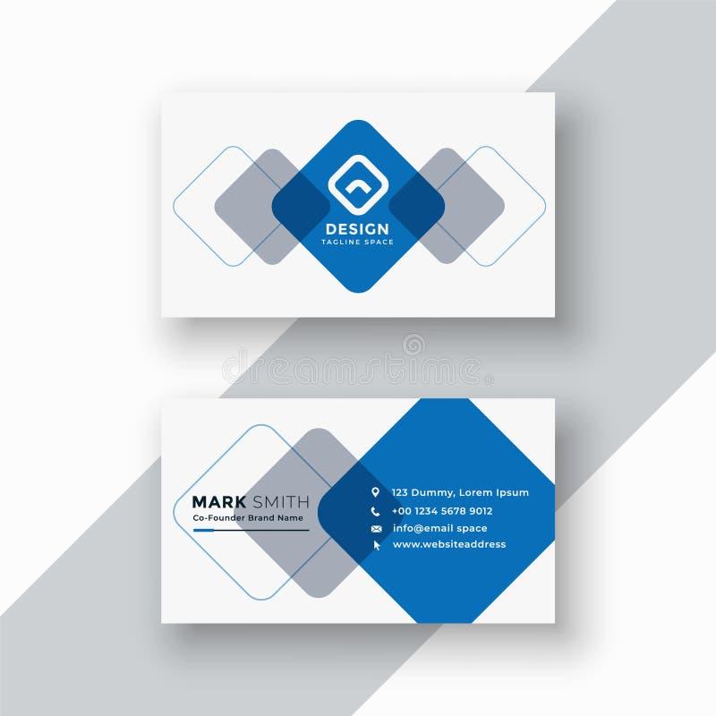 Minimal blue geometric business card design stock illustration