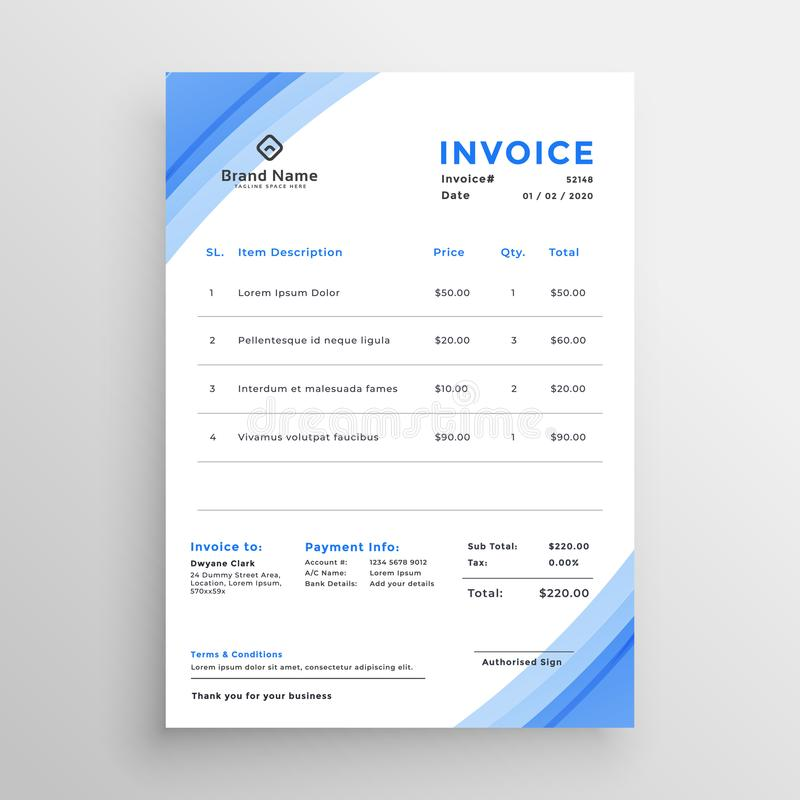 Minimal blue invoice template design royalty free illustration