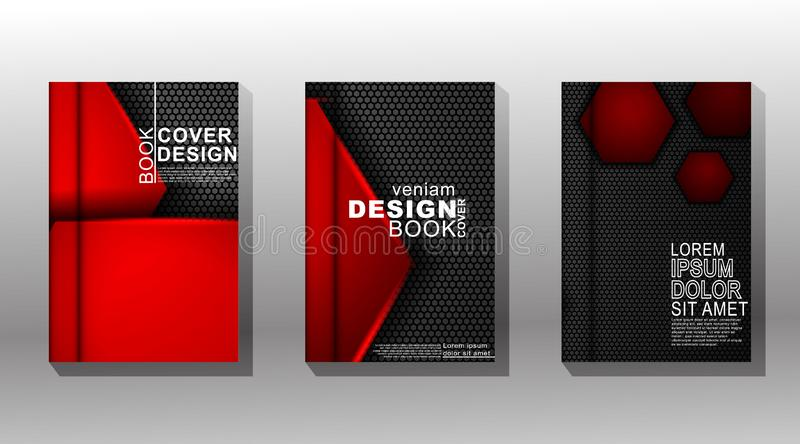 Minimal book cover design with a red and black hexagon pattern background. Vector illustration vector illustration