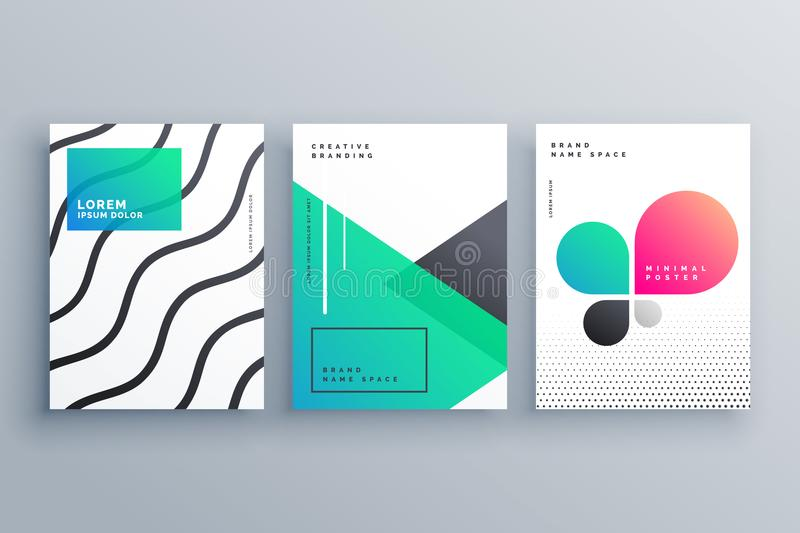 Minimal brochure flyer cover page design for your business stock illustration