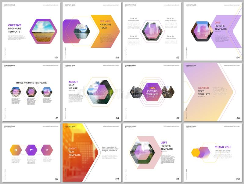 Minimal brochure templates with colorful hexagonal design background, hexagon style pattern. Covers design templates for stock illustration