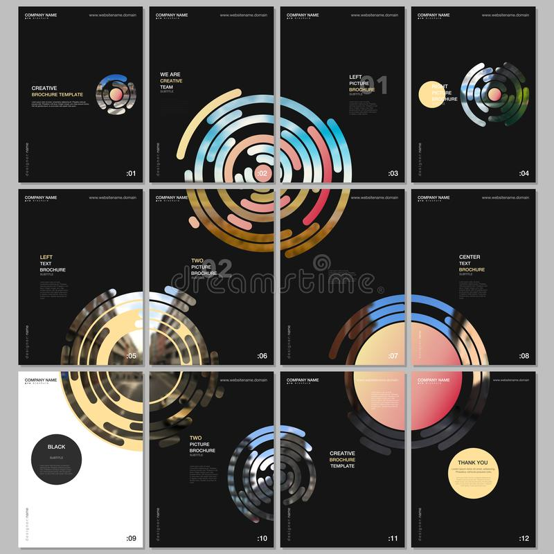 Minimal brochure templates with yellow colorful circle elements, round shapes on black background. Covers design royalty free illustration