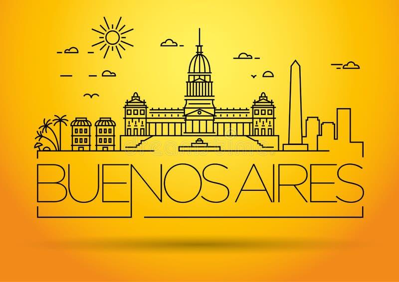 Minimal Buenos Aires City Linear Skyline mit Typografischem Design vektor abbildung