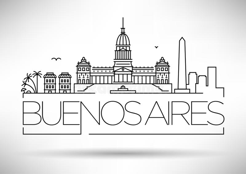 Minimal Buenos Aires City Linear Skyline with Typographic Design stock illustration