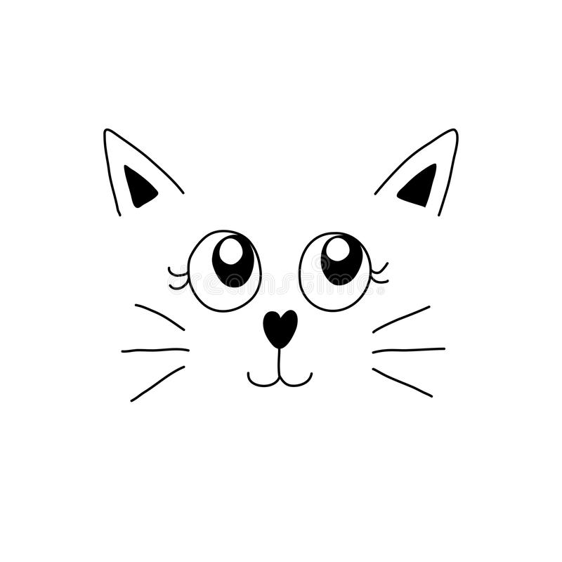 Minimal cartoon image of cute cat face. Vector illustration. Minimal cartoon image of cute cat face. Vector illustration eps10 royalty free illustration