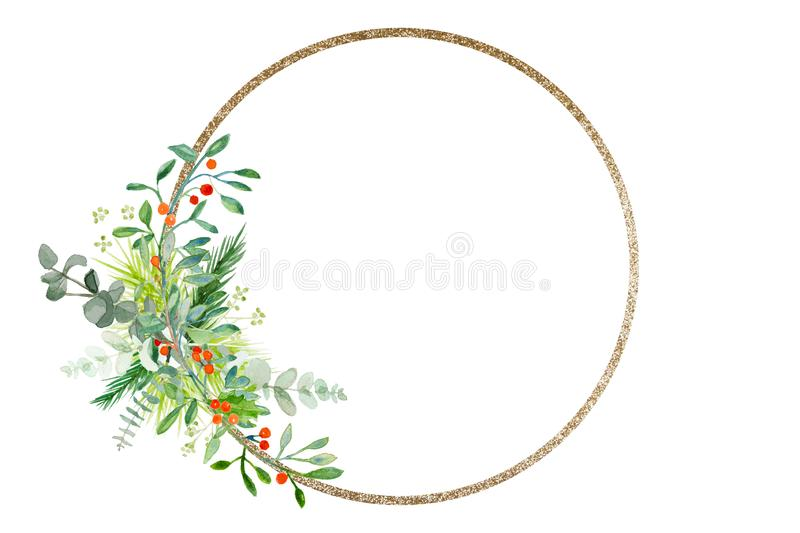 Minimal Christmas wreath with branches and golden ring stock image