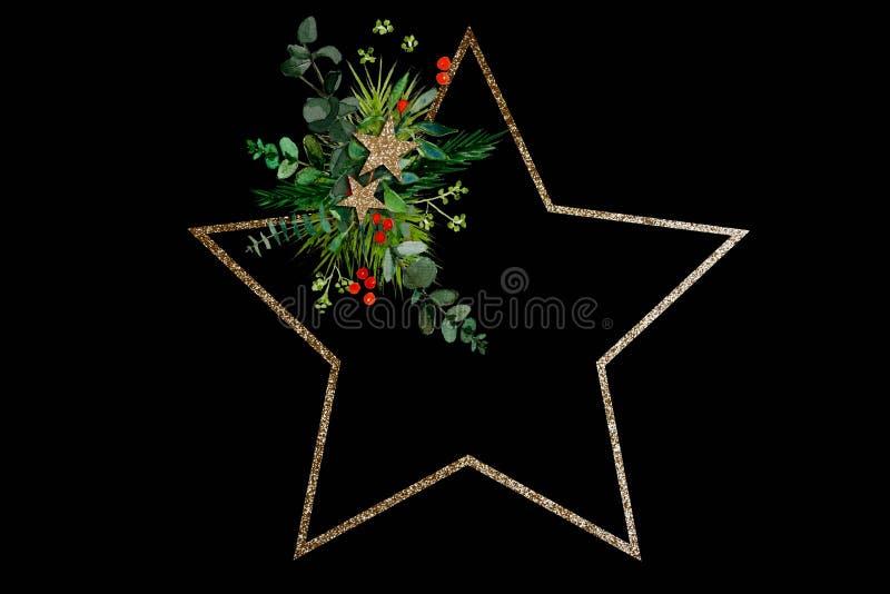 Minimal star shaped Christmas wreath on balck background royalty free stock photography