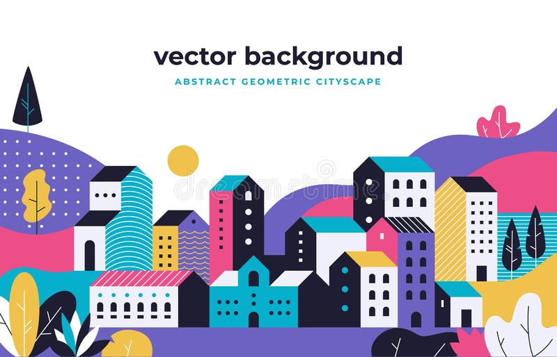 Minimal cityscape. Flat geometric background with buildings leaves treas and fields, nature environment vector landscape. Urban town street park with tree and royalty free illustration