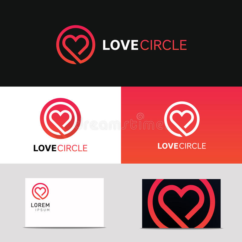 Minimal clean heart icon love logo sign with brand business card. Clean heart icon love logo sign with brand business card vector design stock illustration