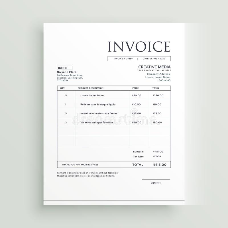 Minimal clean invoice form template design royalty free illustration