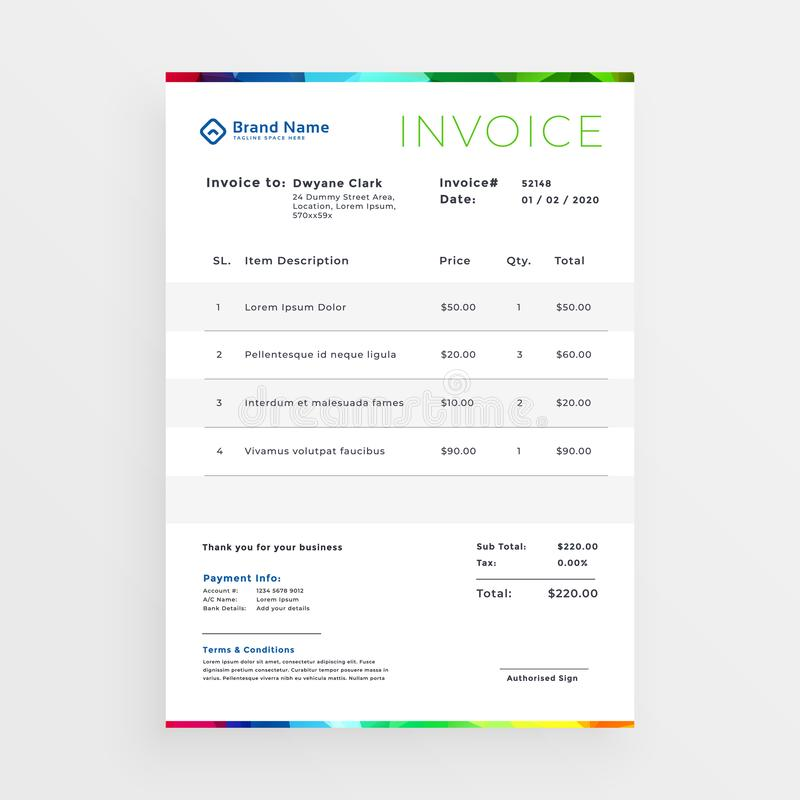 Minimal colorful business invoice template vector illustration