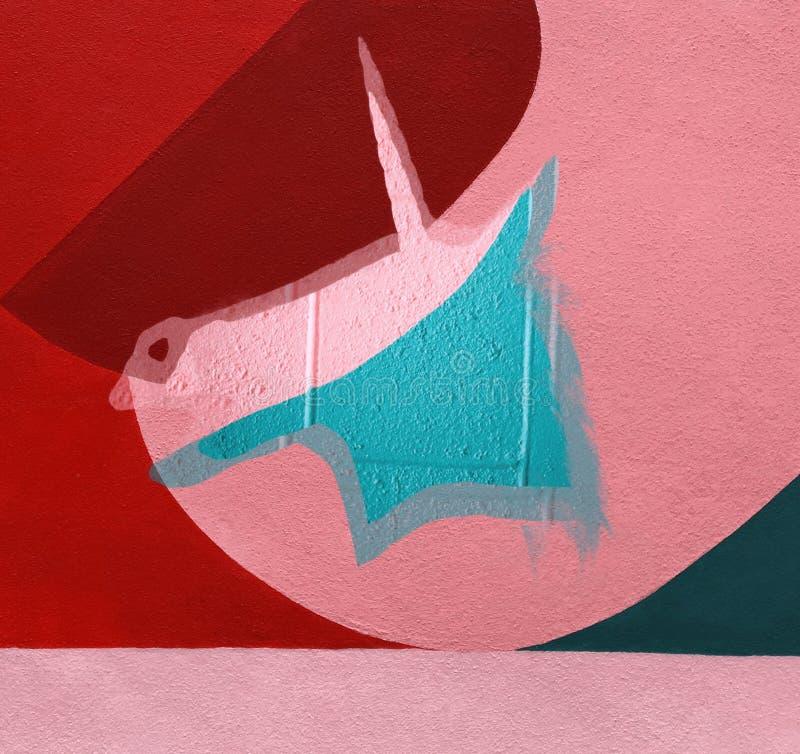 Minimal colorful unicorn, abstract art stock image