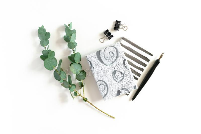 Minimal composition with notepads, calligraphy pen, paper clips, eucalyptus branch. On a white background stock photos
