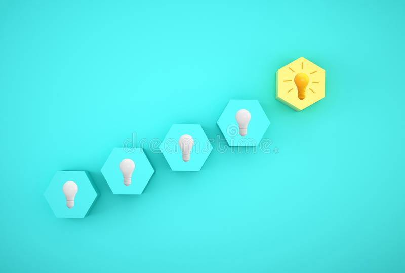 Minimal concept creative idea and innovation. light bulb revealing an idea with hexagon different on blue background. royalty free stock photo