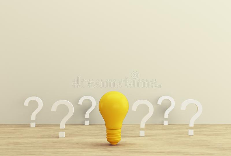 Minimal concept creative idea and innovation. Yellow light bulb revealing an idea with question symbol on a wood background. stock photos
