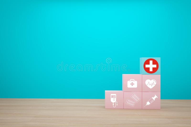 Minimal concept idea about of health and medical insurance, arranging block color stacking with icon healthcare medical on wooden. Background royalty free stock photos