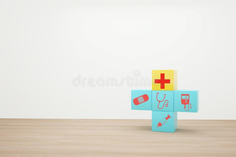 Minimal concept idea about of health and medical insurance, arranging block color stacking with icon healthcare medical on wooden. Background stock photos