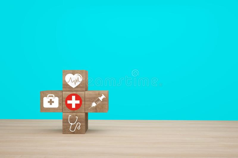 Minimal concept idea about of health and medical insurance, arranging wood block stacking with icon healthcare medical on wooden. Background stock photography