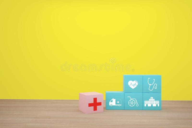 Minimal concept idea about of health and medical insurance, Hand arranging blue cube block stacking with icon healthcare medical.  stock photos