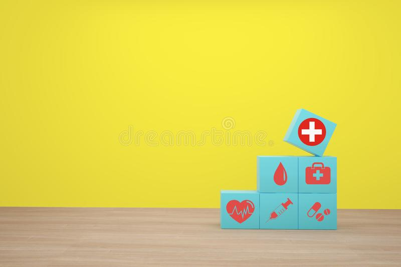 Minimal concept idea about of health and medical insurance, Hand arranging blue cube block stacking with icon healthcare medical.  royalty free stock image