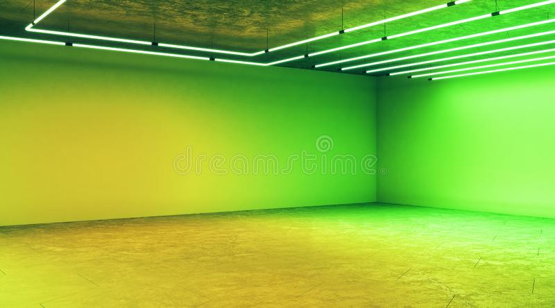 Minimal concept with modern empty light green hall with blank wall and halogen lamps stock images